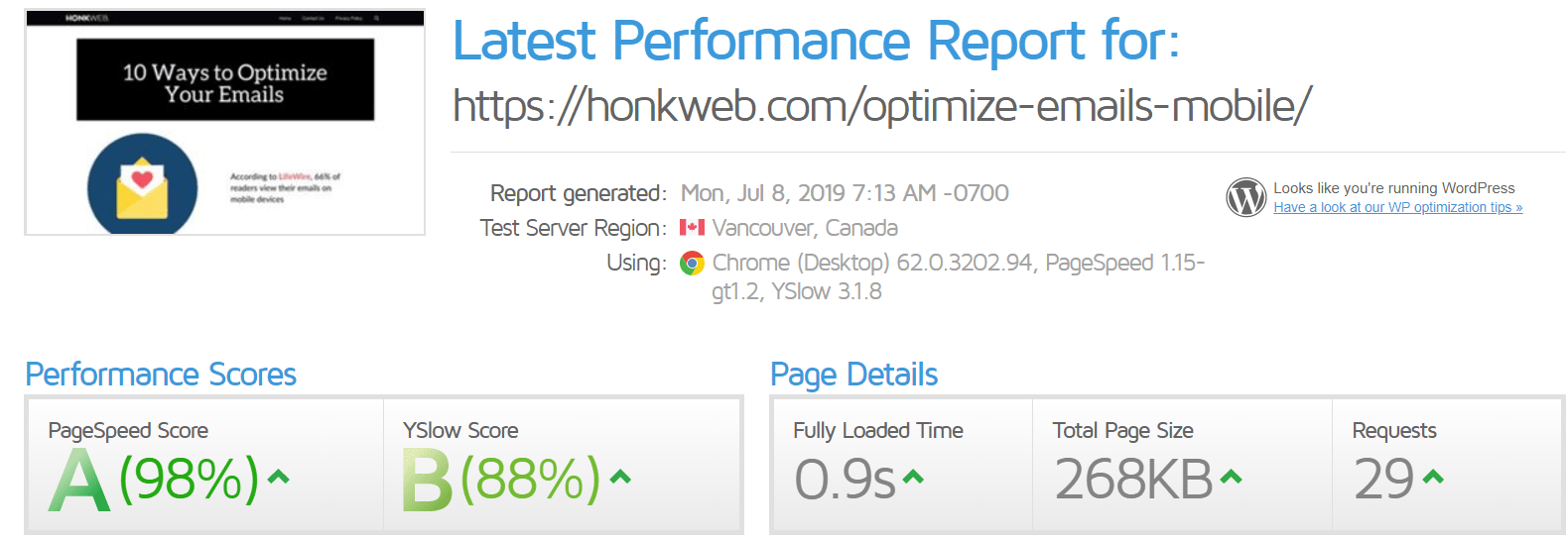 honkweb vapourhost speed test 1