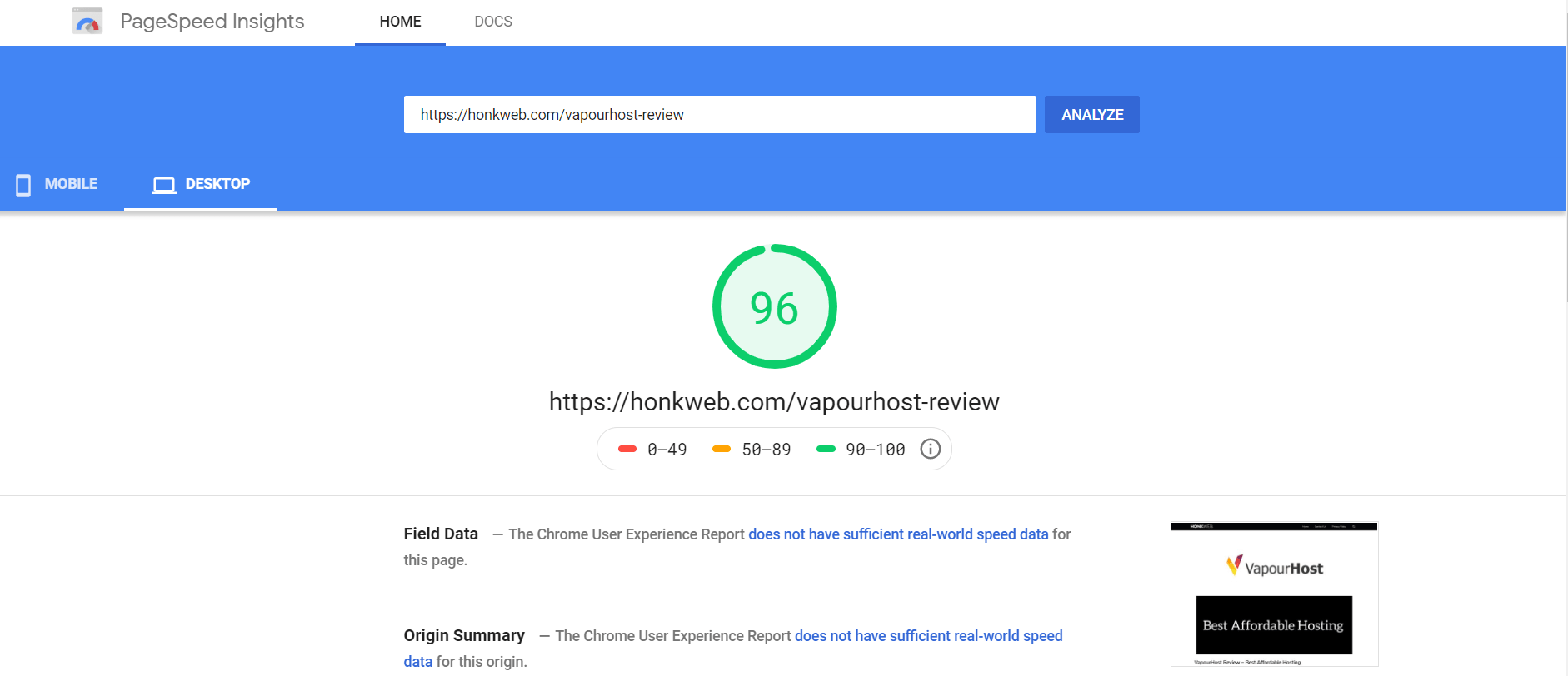 pagespeed insight test